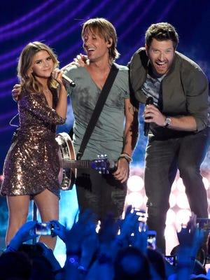 Maren Morris, Keith Urban and Brett Eldredge at the 2016 CMT Music Awards Wednesday June 8, 2016 at Bridgestone Arena in Nashville, Tenn.