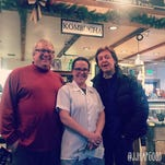 Legendary musician Paul McCartney visits the J.J. Hapgood General Store and Eatery in Peru Sunday. He is pictured with owners Tim and Juliette Britton.