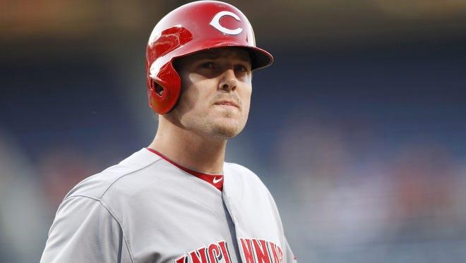 Cincinnati Reds right fielder Jay Bruce (32) prepares for an at bat.