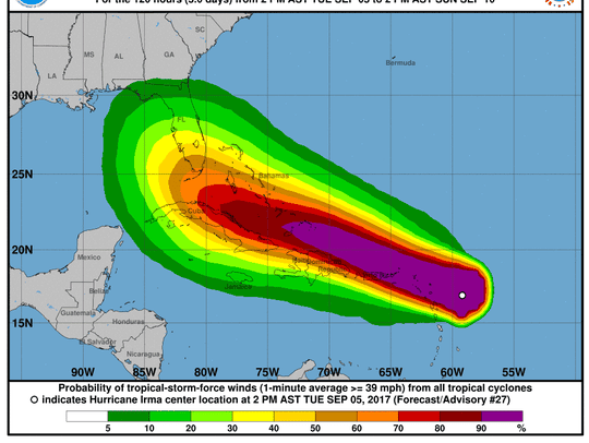 Wind speed probabilities for Hurricane Irma at 2 p.m.