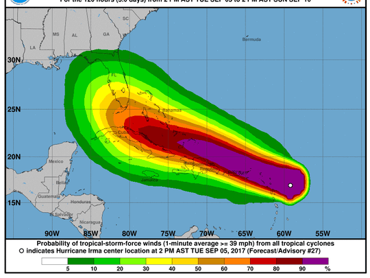 Wind speed probabilities for Hurricane Irma at 2 p.m. Tuesday, Sept. 5, 2017.