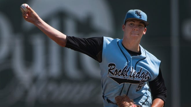 Rockledge pitcher Mason Studstill throws a pitch in the state semifinal game against Clay.