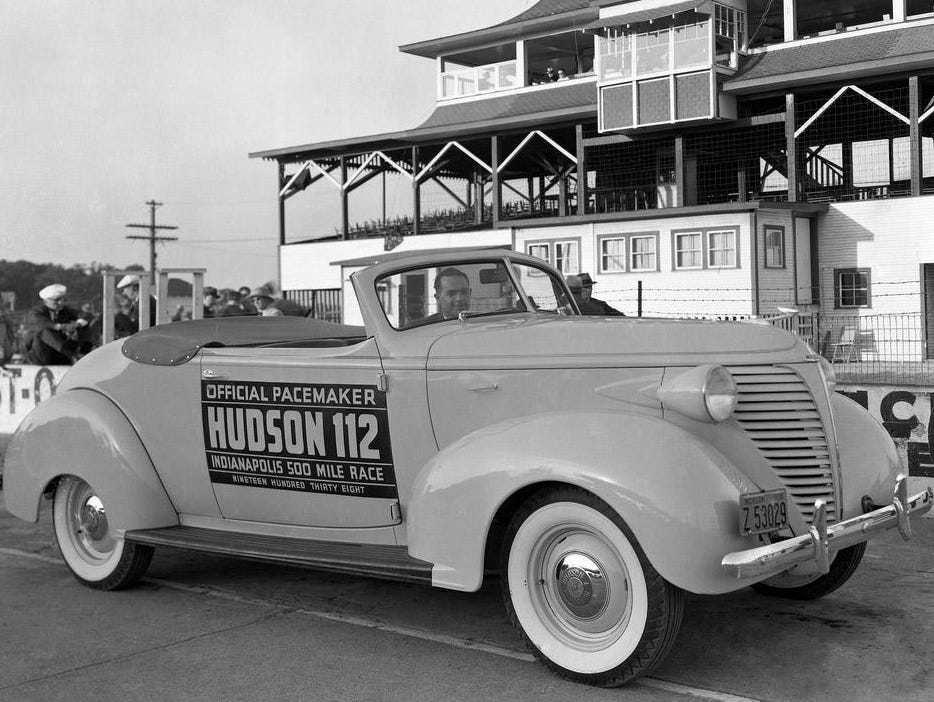 The Hudson 112 served pace duties for the 1938 Indianapolis 500.