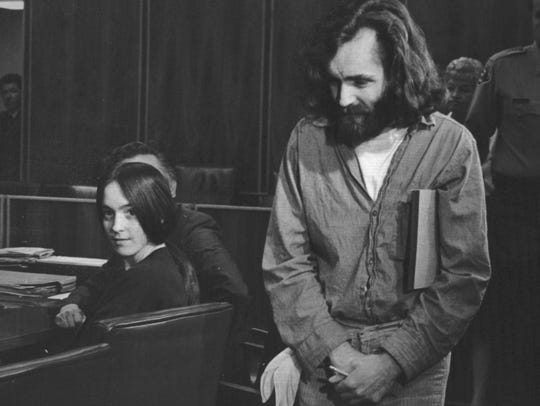 Charles Manson in the courtroom.