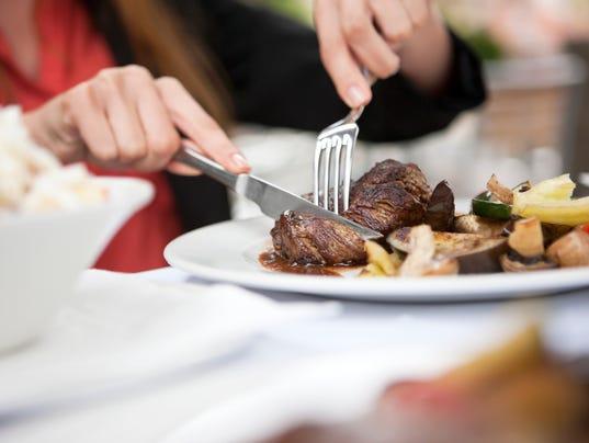 Eating steak