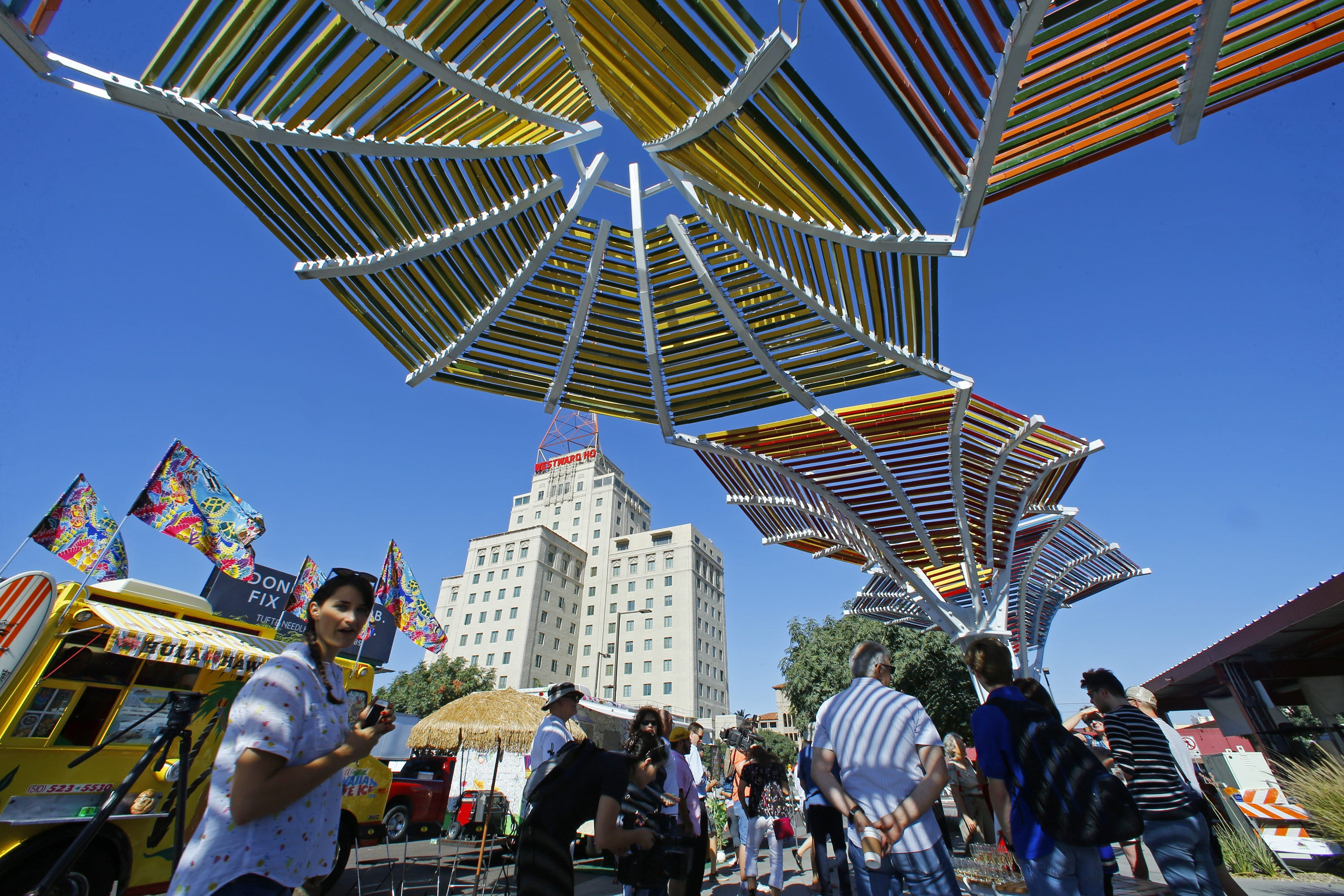 The shade of it all New art installation debuts in downtown Phoenix to help beat the heat & The shade of it all: New art installation debuts in downtown ...