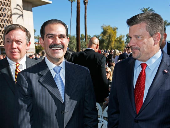 ASU president Michael Crow (from left), Sonora Governor