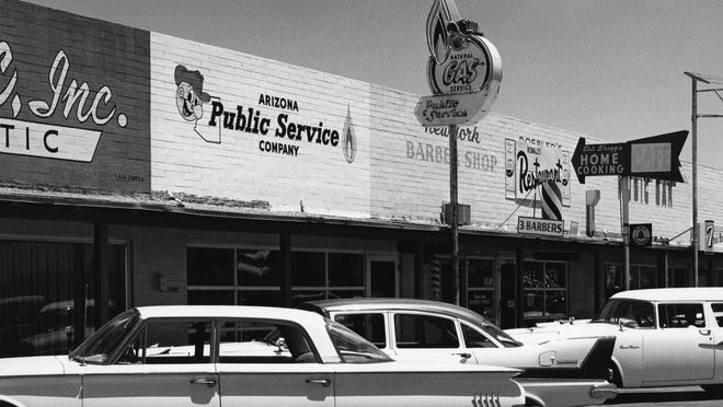 This photo shows a 1950s-era APS office located in Phoenix. The exact location is not known.