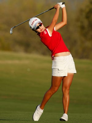 Hyo Joo Kim from South Korea plays her second at the 18th hole during round four of the JTBC Founders Cup at Wildfire Golf Club at JW Marriott Phoenix Desert Ridge Resort & Spa in Phoenix on MArch 22, 2015. Hyo Joo Kim won the JTBC Founders Cup with a 4-day total of 21-under-par.