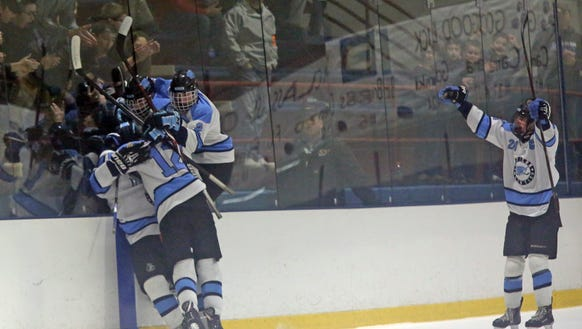 Suffern celebrates scoring their first goal over Scarsdale