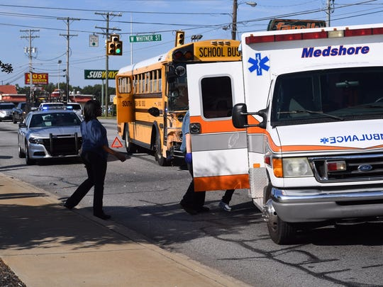 Bus with about 20 @AndersonFive middle school children in wreck at SC24 and SC28bypass. One in ambulance on stretcher.