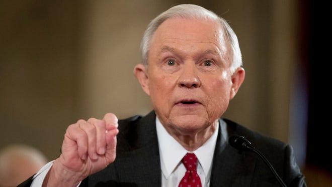 In this photo taken Jan. 10, 2017, Attorney General-designate, Sen. Jeff Sessions, R-Ala. testifies on Capitol Hill in Washington.