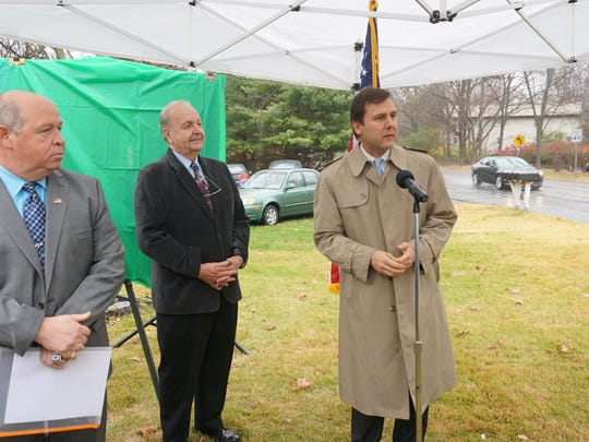 Sen. Tom Kean Jr. speaks at the dedication of the Alex DeCroce Memorial Highway Tuesday in Parsippany. At left is Parsippany Mayor James Barberio.