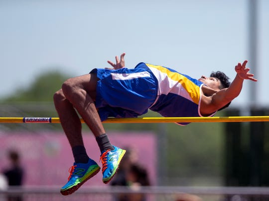Moody's Ezekiel Moya competes in the high jump during the Chatter Allen Relays at Cabaniss Stadium on Thursday, March 29, 2018.