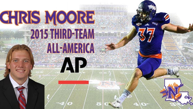 Northwestern State's Chris Moore is a third-team AP All-American.