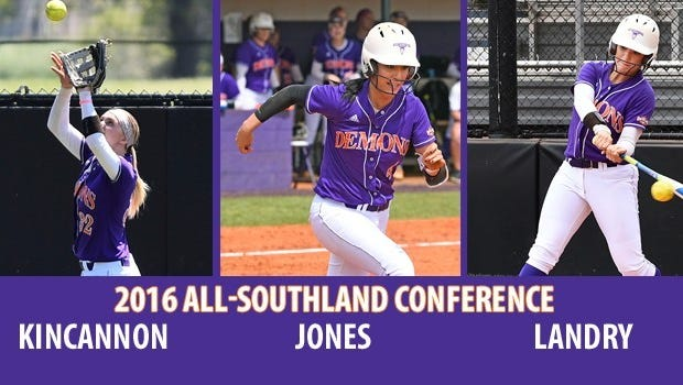 NSU's Kellye Kincannon, Natalie Landry and Brittney Jones were all named to the All-Southland Conference team.