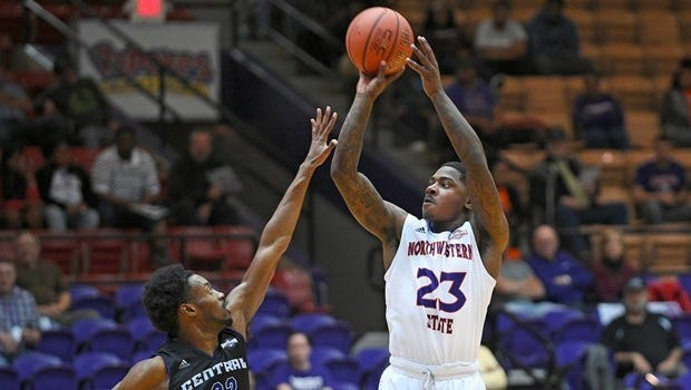 FILE PHOTO -- Senior guard Zeek Woodley scored a game-high 19 points Sunday as Northwestern State fell at Oklahoma 97-61.