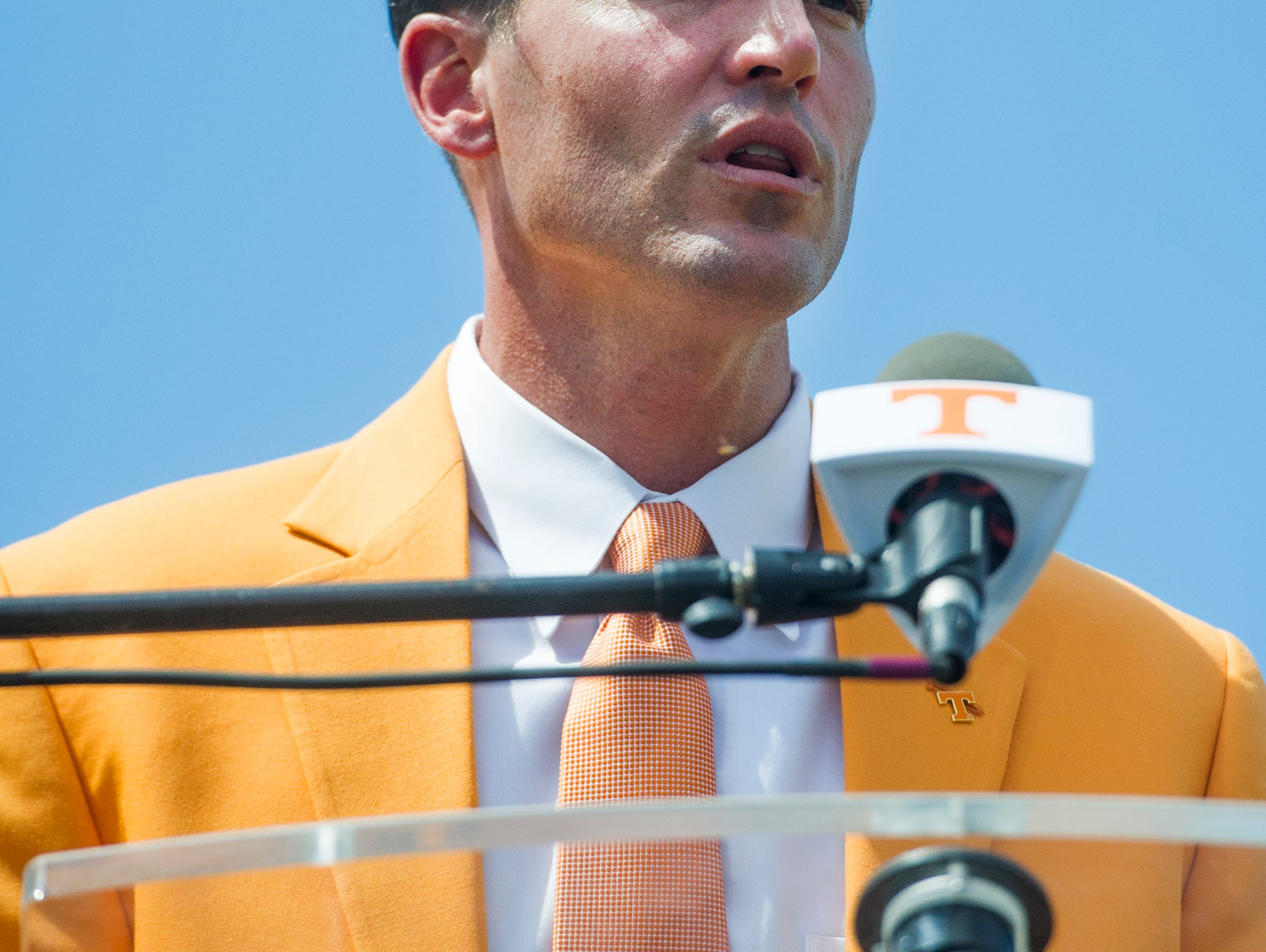 Tony Vitello, the new University of Tennessee baseball head coach, speaks at a press conference where he is introduced to the media for the first time at Lindsey Nelson Stadium on Friday June 9, 2017.