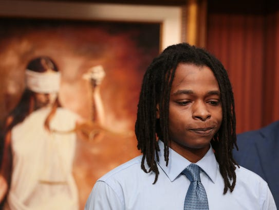 David Bivins, 24, speaks about his case during a press