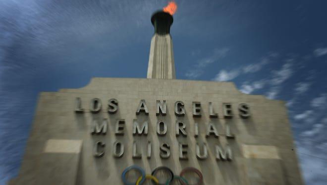 The Los Angeles Memorial Coliseum is seen in Los Angeles on July 30, 2015. The Coliseum would be upgraded as part of the LA 2024 bid.