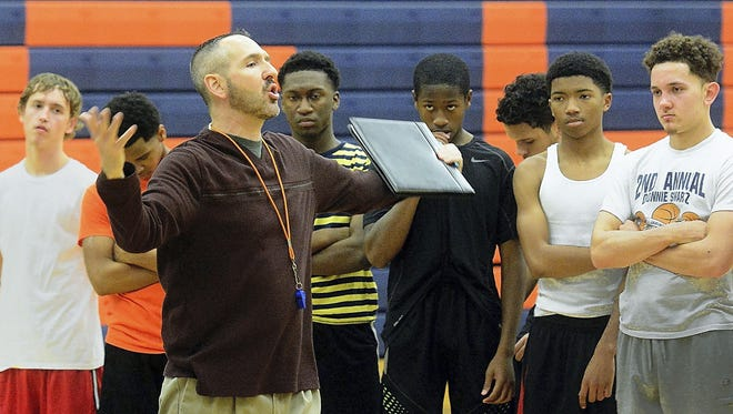 In this file photo, York High head coach Troy Sowers conducts tryouts on the first day of winter sports season. After taking a year off from coaching, Sowers will return this winter as an assistant coach for the Dallastown boys' team.