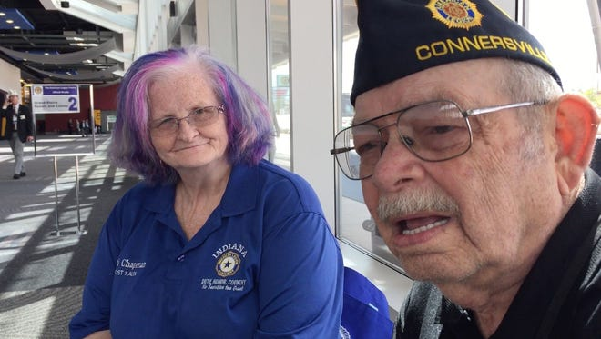 American Legion members Marti and Dave Chapman of Indiana discuss their views of President Trump on Tuesday, Aug. 22, 2017, ahead of Trump's speech to the American Legion convention in Reno on Wednesday, Aug. 23, 2017.