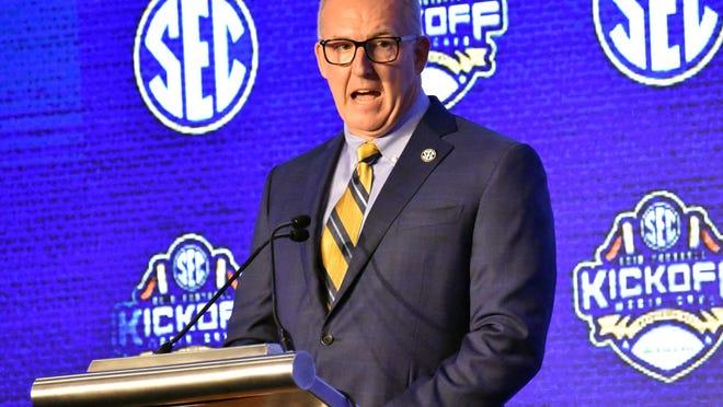 Southeastern Conference Commissioner Greg Sankey speaks at SEC Media Days in Hoover, Ala.