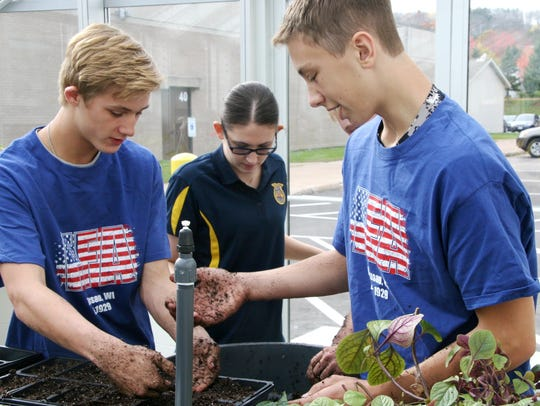 In this file photo, students get their hands dirty