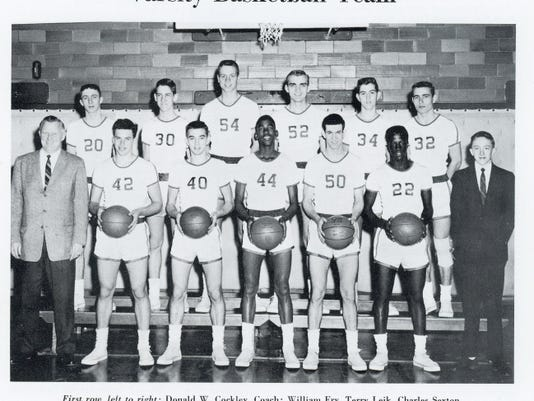 William Penn's 1959 basketball team, pictured here, made it to the district title game after losing its entire starting lineup. Graduate Gary Kraybill was an avid fan of the basketball team, and the most memorable game he watched was when the Bearcats played Steelton for the second-half Central Penn title that season. The Bearcats won on a buzzer-beating shot.