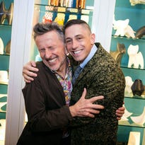 Tons of stylish folks flocked to the grand opening of the Jonathan Adler store at Biltmore Fashion Park on Friday, October 17, 2014, to check out the designer's new looks and to enjoy some light snacks and refreshments. Here, Jonathan Adler and husband Simon Doonan, creative-ambassador-at-large for Barneys New York, shared a silly moment.