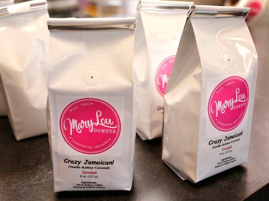 Crazy Jamaican!, one of the new coffee flavors available Wednesday, May 30, 2018, at Mary Lou Donuts, 1830 S. Fourth Street in Lafayette. Mary Lou Donuts is now serving its own line coffees and snack foods including a variety of popcorn flavors, pretzels covered with dark chocolate, milk chocolate, white chocolate and peanut butter, and even chocolate covered potato chips.