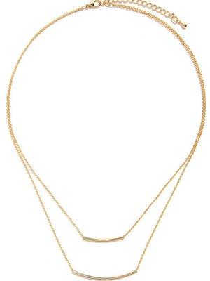 Lulu's bar-fetched gold layer necklace, $12, lulus.com.