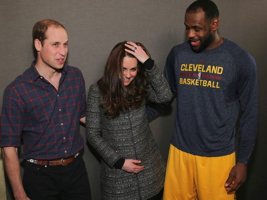 Duchess Kate reacts to meeting LeBron James backstage at NBA game in Brooklyn on Dec. 8.