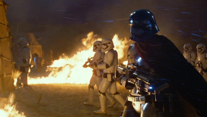Captain Phasma (Gwendoline Christie) in a scene from the motion picture 'Star Wars: The Force Awakens'