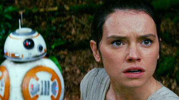 """Daisy Ridley, right, stars as Rey in """"Star Wars: The Force Awakens."""""""