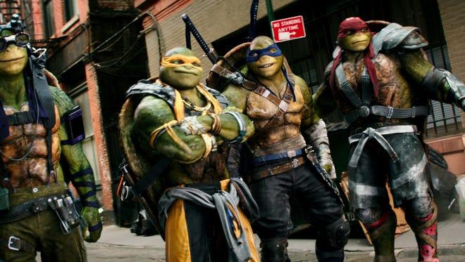 "Donatello, Michelangelo, Leonardo and Raphael in ""Teenage Mutant Ninja Turtles: Out of the Shadows."""