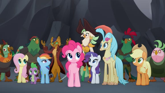 Ponies from the Mane 6, (left to right) Fluttershy,