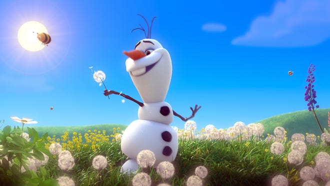 Olaf in a scene from the animated motion picture 'Frozen.'