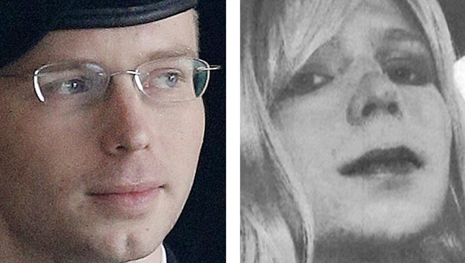 U.S. Army Pfc. Bradley Manning at a courthouse on Aug. 20 at Fort Meade, Md., left, and an image of Manning wearing a wig and lipstick.