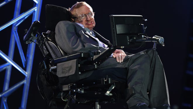 Stephen Hawking speaks during the Opening Ceremony of the London 2012 Paralympics at the Olympic Stadium on August 29, 2012 in London, England.