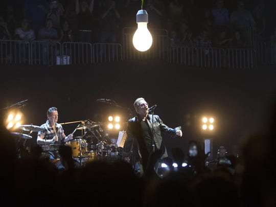 U2, performs during their Innocence + Experience Tour at US Airways Center in Phoenix in May.