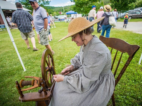 Antique Hill at the Tunbridge Fairgrounds will be the site for many crafters and artisans at the Vermont History Expo June 18 and 19. This photo shows a spinning demonstration.