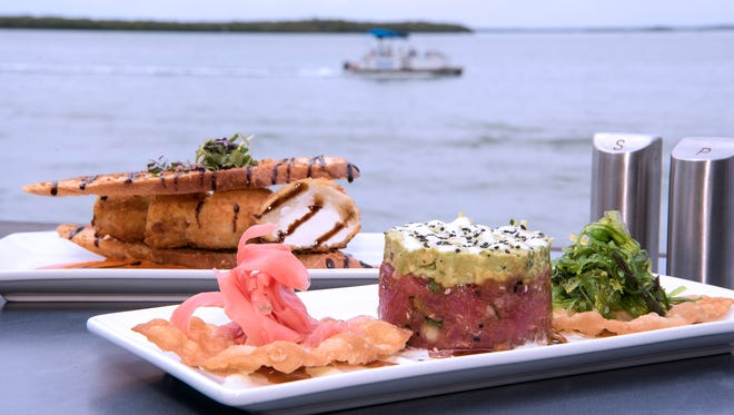 Flipper's on the Bay, in Fort Myers Beach, combines great food with eye-catching scenery overlooking Estero Bay at Lovers Key Resort. Well-executed dishes include tuna ceviche with pickled ginger, cucumber and avocado relish, as well as stuffed artichoke bottom, featuring goat cheese nuggets sandwiched inside two crostini.