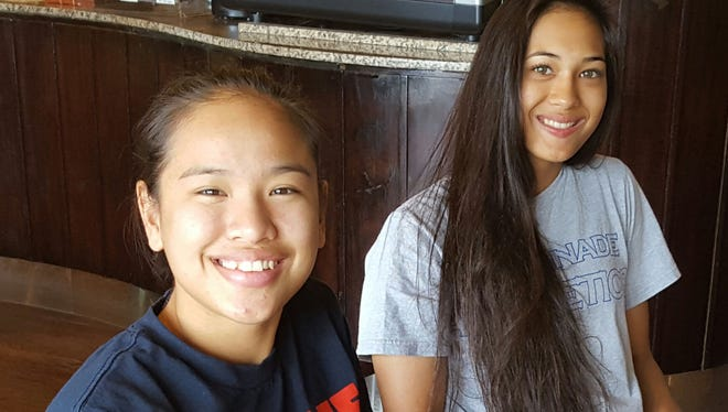 "Chaminade University student-athletes Kali Benavente and Destiny Castro reflected on completing their freshmen season with the Lady Silverswords basketball team during their spring break on Guam. ""Sleep and rest was a priority for us throughout the four-month season,"" said Benavente, pictured at right."