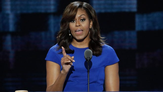In this July 25, 2016 file photo, first Lady Michelle Obama at the Democratic National Convention in Philadelphia, Pa.