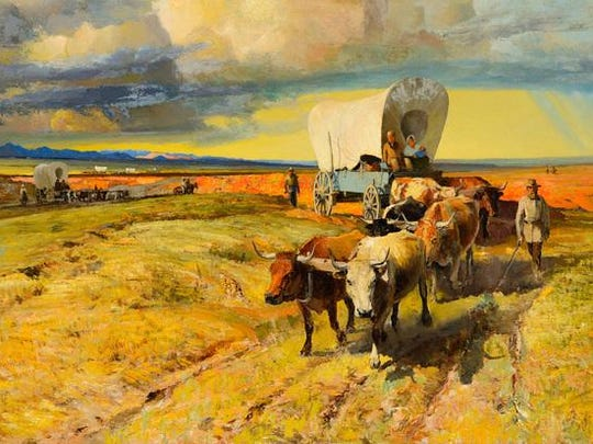 Robert Amick (1879–1969)The Pioneersoil on canvas28 × 40 inchesEstimate: $4,000-6,000