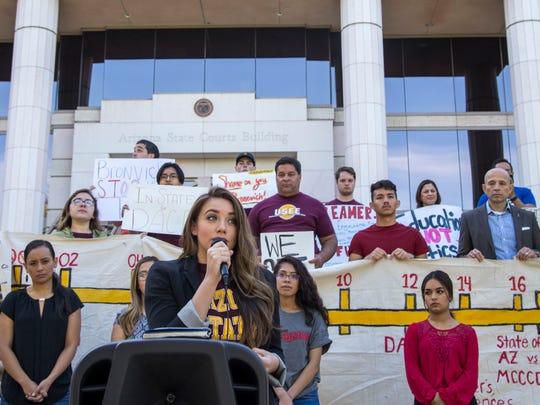 """""""Dreamer"""" Belen Sisa speaks during the rally outside"""