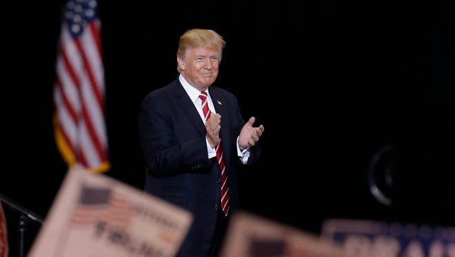 President Trump speaks at a rally in Phoenix on Aug. 22, 2017.