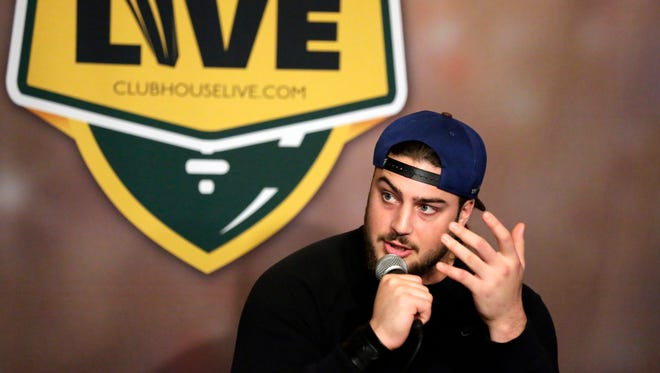 Green Bay Packers left tackle David Bakhtiari co-hosted Monday's Clubhouse Live in downtown Appleton. Former Packers tight end and show co-host Tom Crabtree was Bakhtiari's guest.