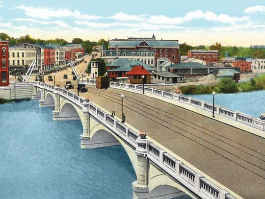 """A drawing of Fremont's State Street Bridge in 1928 is featured in James Powell's book """"The 1928 Bunion Derby."""""""